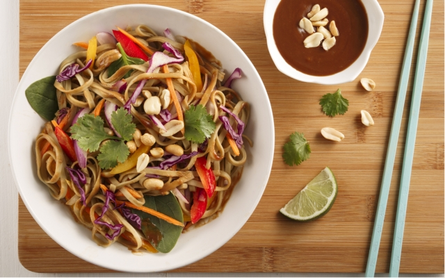 Rainbow salad in peanut sauce