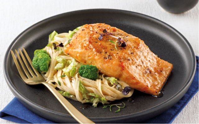 Miso Salmon with noodles salad and ponzu dressing