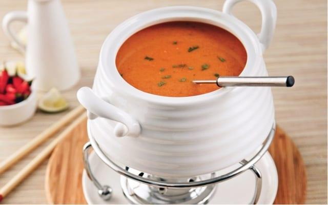 Thai fondue broth with coconut milk