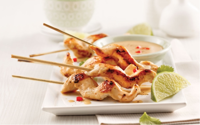 Thai chicken skewers with coconut, lime and lemongrass sauce
