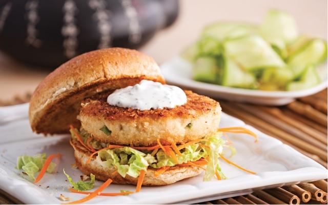 Asian fish and shrimp burger