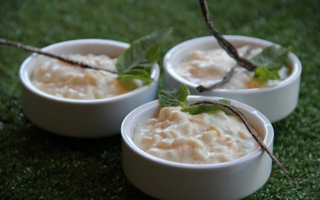 Rice pudding with sweet cream of coconut