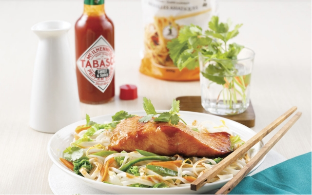 Spicy honey salmon on Asian noodles